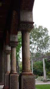 The cloister surrounding the quadrangle. All around me are patterns of stately decay.