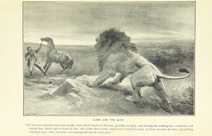 Maybe the brave horse joins with the lion to fight off the stupid human who has the horse captive ...