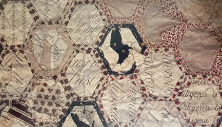 Reading into it: 1830s English quilt (image from a notebook)